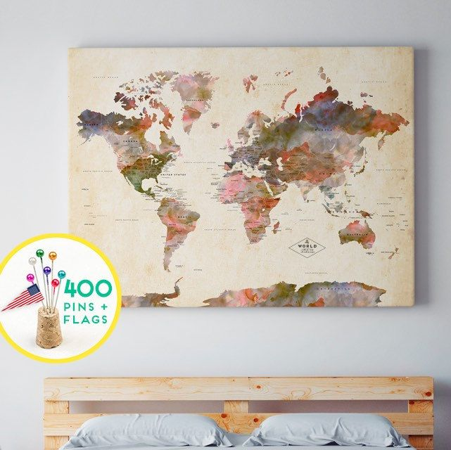 Personalized push pin world map canvas world map watercolor terra explora mapa del mundo de la lona y mucho ms we designed new push pin map gumiabroncs Images