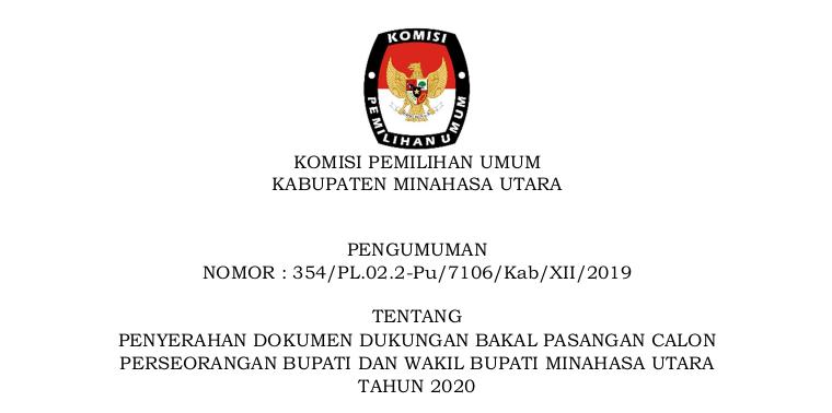 Pengumuman Kpu Minahasa Utara Publikreport Com Menyerah