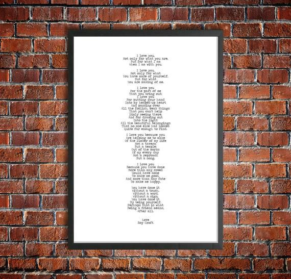 Roy Croft Printable Love Poetry 'I Love You' Instant Download Romantic Gift Love Poster Typed Instan #excelwordaccessetc