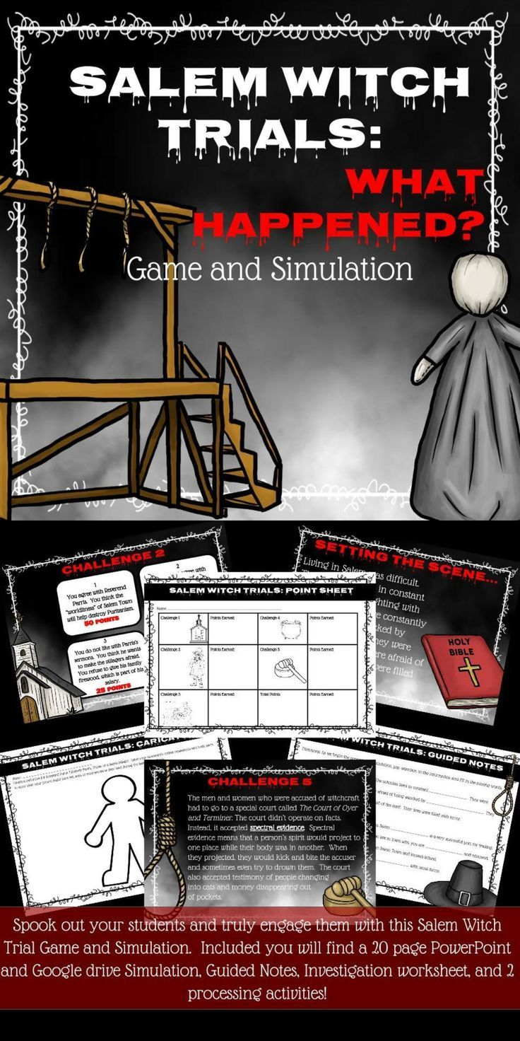 Salem Witch Trial Game And Simulation Grades 6 8 Ideas