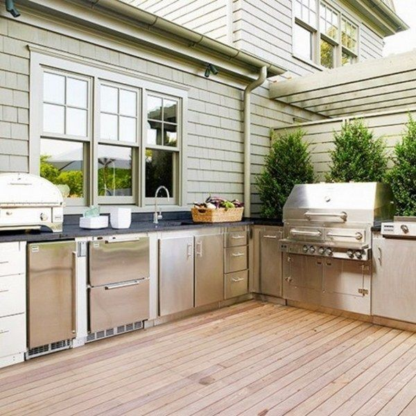 Outdoor Kitchen Plans Stainless Steel Cabinet Doors Grill Wooden Deck