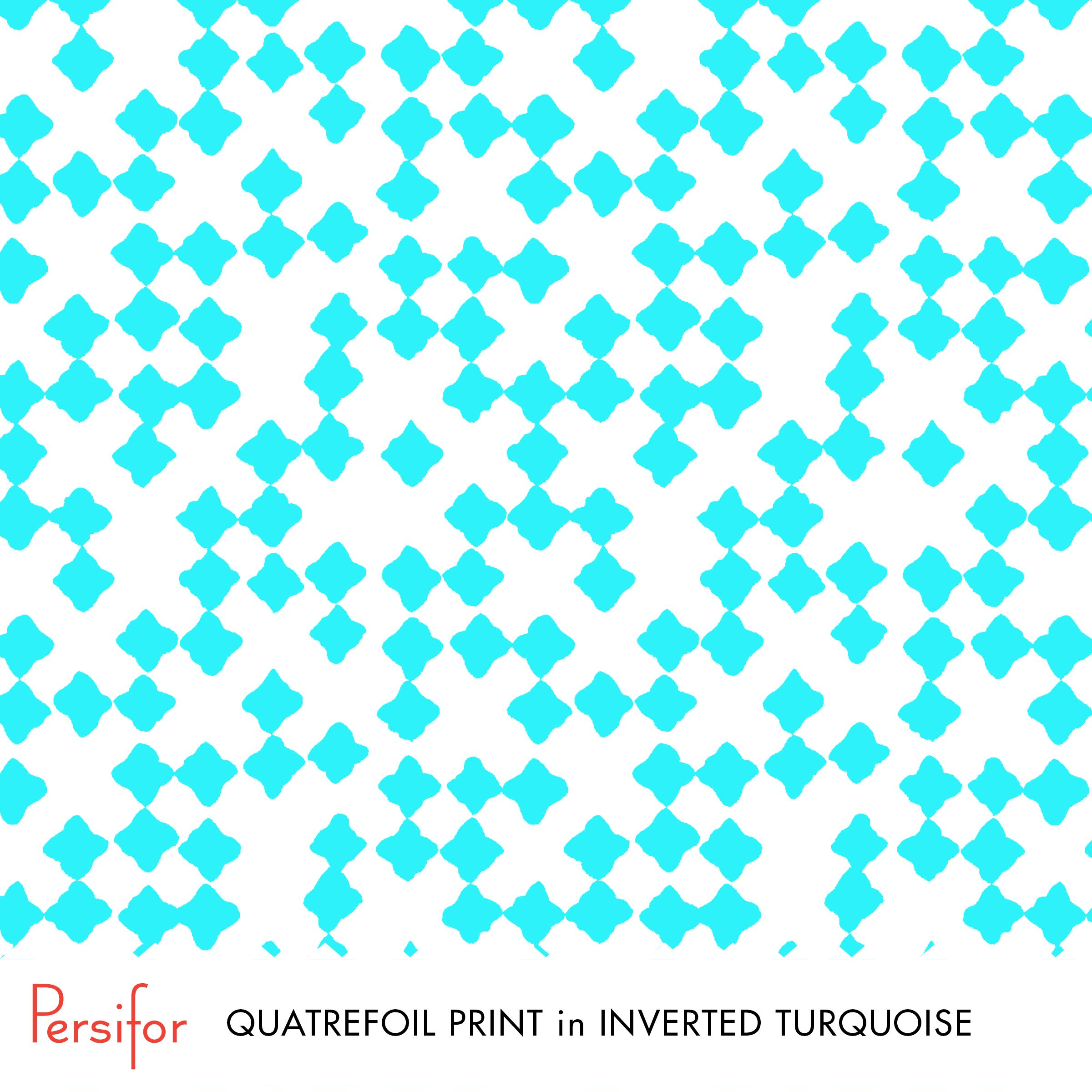 Persifor Quatrefoil Print in Inverted Turquoise. Bright, bold Pantone colors. Unique prints.