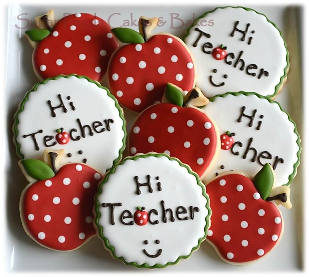 Cookies for First Day of School - love the spotty apples!