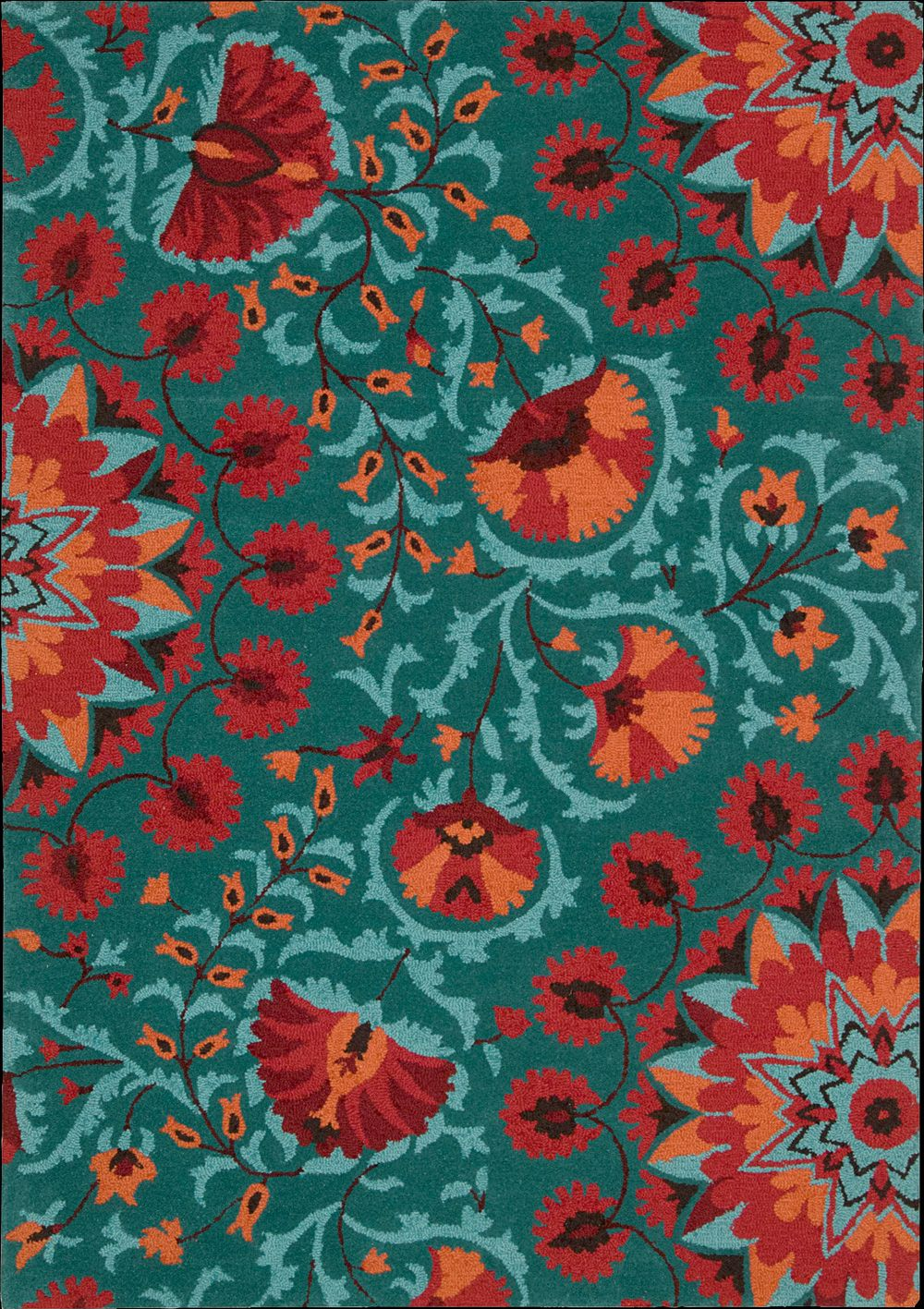 Nourison Industries Area Rug Collections Suzani Orange Aqua Teal Turquoise