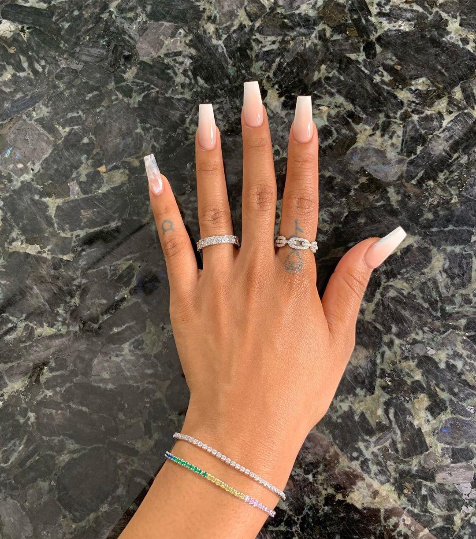 "Cleopatra Dues on Instagram: ""Arm candy 🍬 ❄️ Adjustable bracelets: @kleoluxe.co  Rings: @kittencojewelry  Nails: @nailedbymelissa1  #ombrenails #pinkandwhitenails…"""
