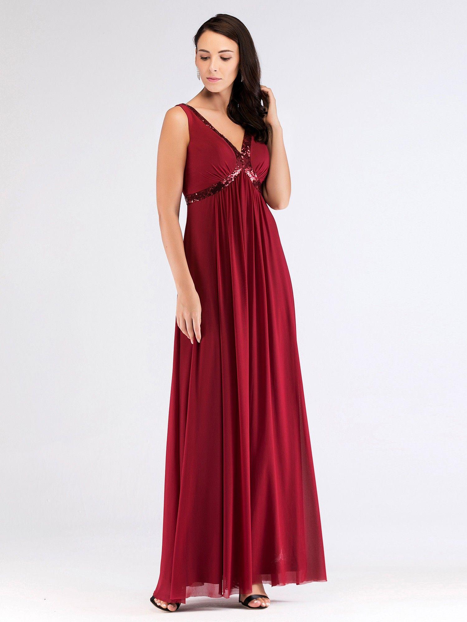 Floor Length Burgundy Evening Dress with Sequins   Ever ...