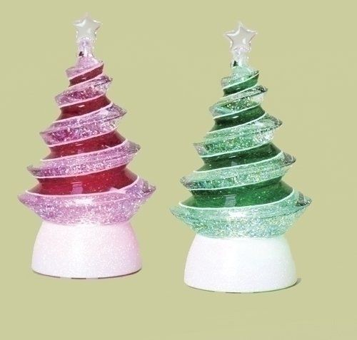 Set Of 2 Led Lighted Color Changing Swirl Tree Christmas Glitterdomes 8 5 By Roman 59 99 Set Of 2 Christmas Gl Light Up Tree Glitter Christmas Glitter Dome