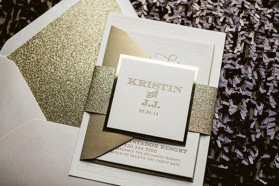 elegant white & gold mirror letterpress wedding invitation,