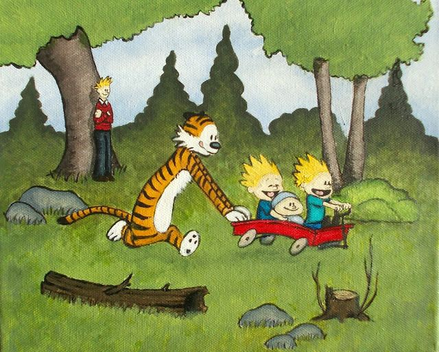 Calvin and Hobbes painting
