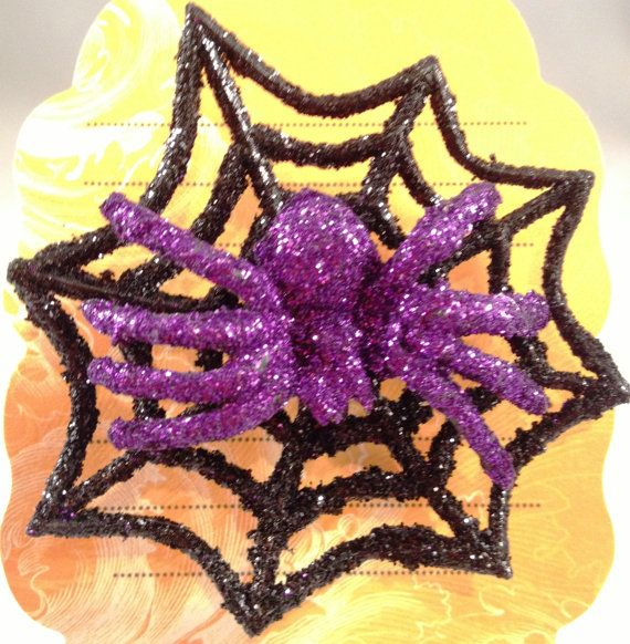 "Fun Spooky Glittered Spider on his glittered web, Halloween Pins. Overall size 2""  Wear on your clothes, a purse, a scarf, a hat..... endless ideas   by RockinRobinsBling, $2.00"
