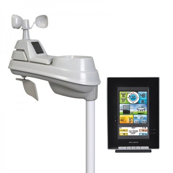 Pro Color Digital Weather Station (00502)  The bold, easy-to-read color LCD screen includes, indoor & outdoor temperature and humidity, wind speed & direction, rainfall, barometric pressure history, clock, calendar and more. Customer programmable alarms alert you when weather conditions change. $159.99 on AcuRite.com  #weather #forecast