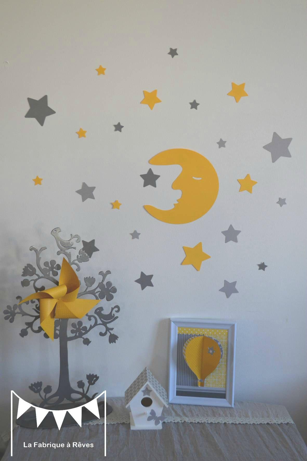 stickers dcoration chambre enfant fille bb garon lune et toiles jaune gris