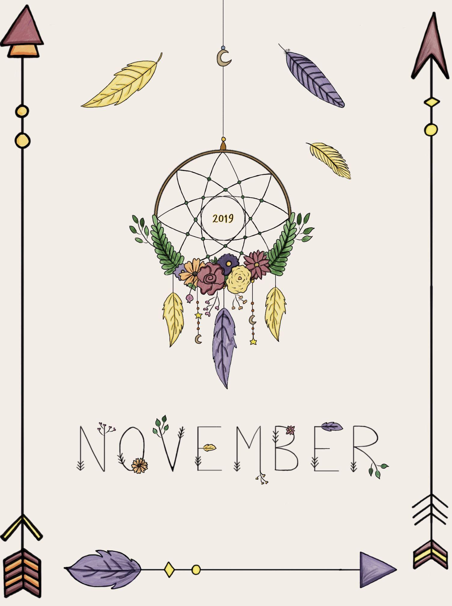 November Bullet Journal Cover Page - Procreate #novemberbulletjournalcover