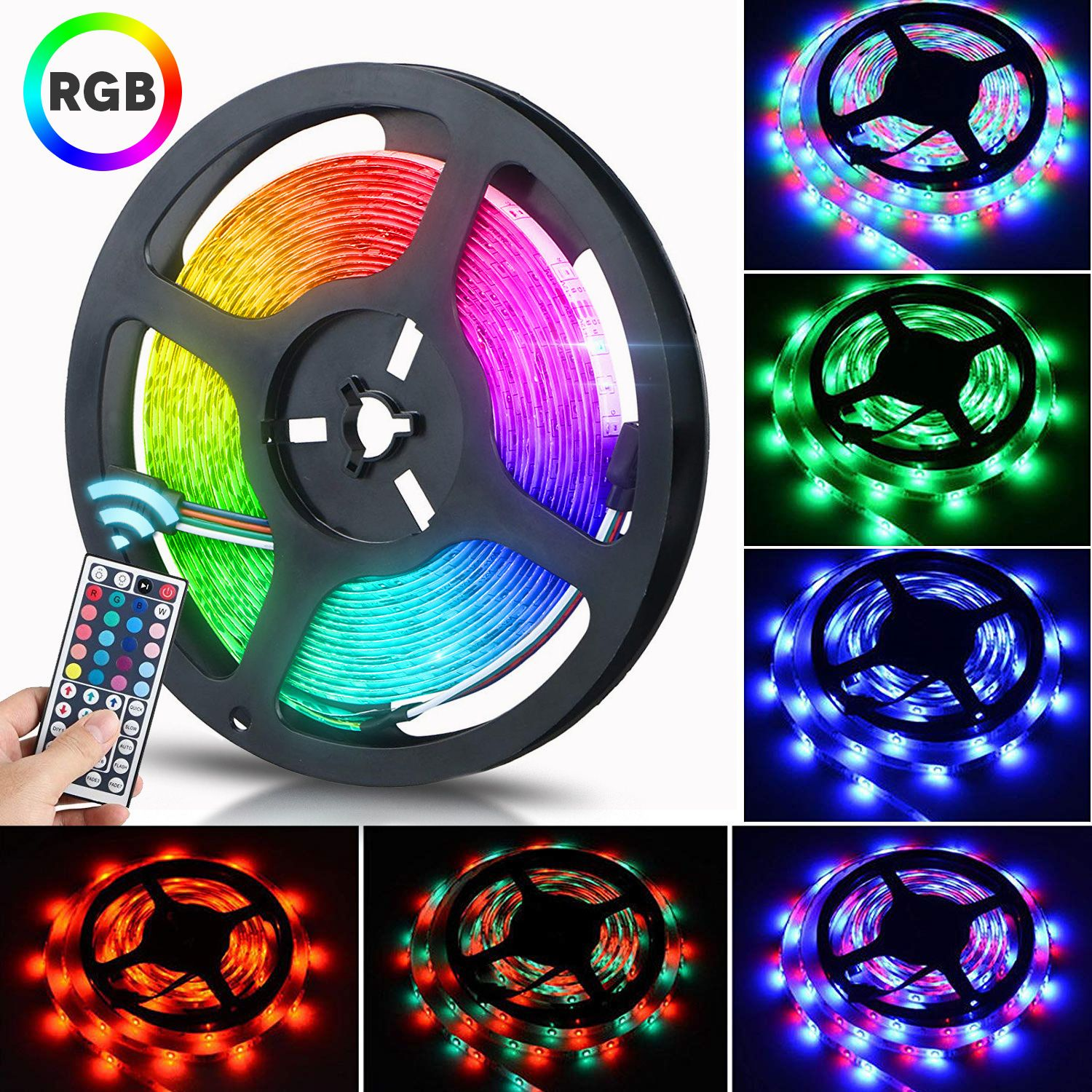 Eeekit 16 4ft 300 Led 3528smd Led Strip Lights Multi Color Changing Led Rope Lights For Bedroom With 44key Remote 12v Dc Power Supply For Home Room Office De In 2021 Strip