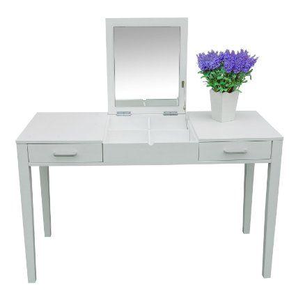 Amazon.de: Schminktisch Sekretär Spiegel Frisierkommode Frisiertisch  Kosmetiktisch Klappbar Weiß