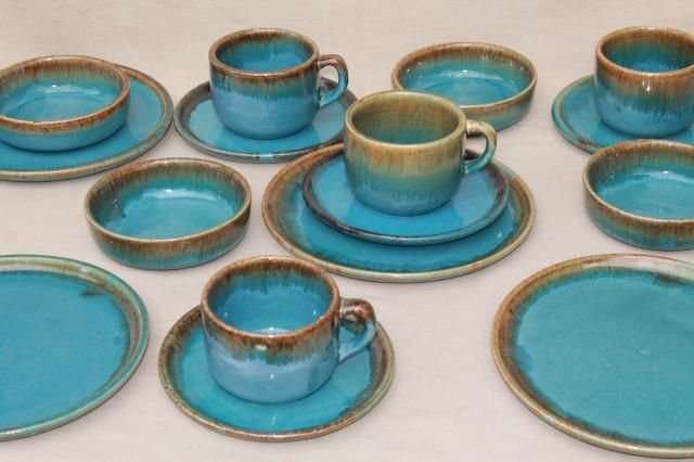 California Rustic vintage stoneware pottery dishes ocean blue w/ copper brown drip glaze & California Rustic vintage stoneware pottery dishes ocean blue w ...
