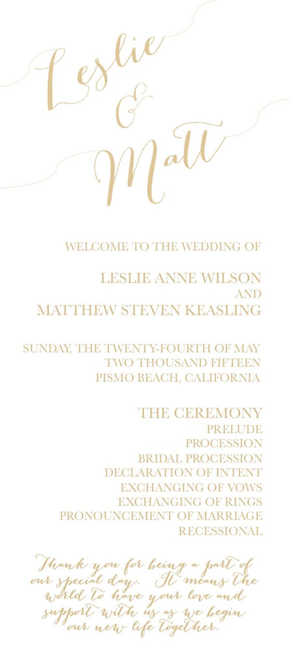 modern double sided wedding program two sided wedding program