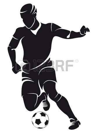 Vector Football Soccer Player Running Silhouette With Ball Soccer Silhouette Soccer Players Silhouette