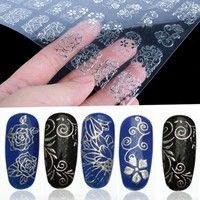 Women Lady 108pcs 3D Silver Floral Flower Nail Stickers Decals Decor | Wish