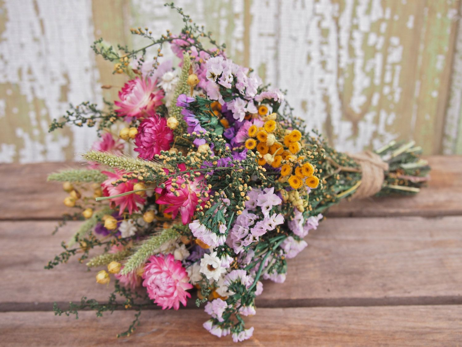 Our Field Flower Bridesmaid Dried Flower Bouquet For A Rustic