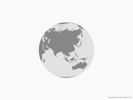 Free Vector Map of Globe of Asia - Single Color ...