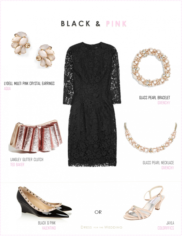 Little Black Lace Dress with Pale Pink Accessories | To be, Lace ...