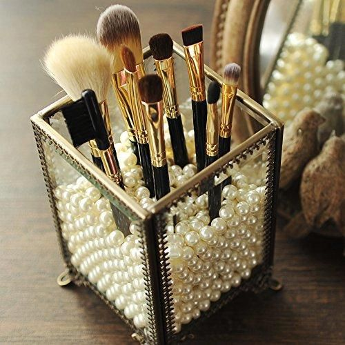 Makeup Organizer Vintage Make up Brush Holder with Free White Pearls - Small PuTwo Makeup Organizer Vintage Make up Brush Holder with Free White Pearls - Small 1