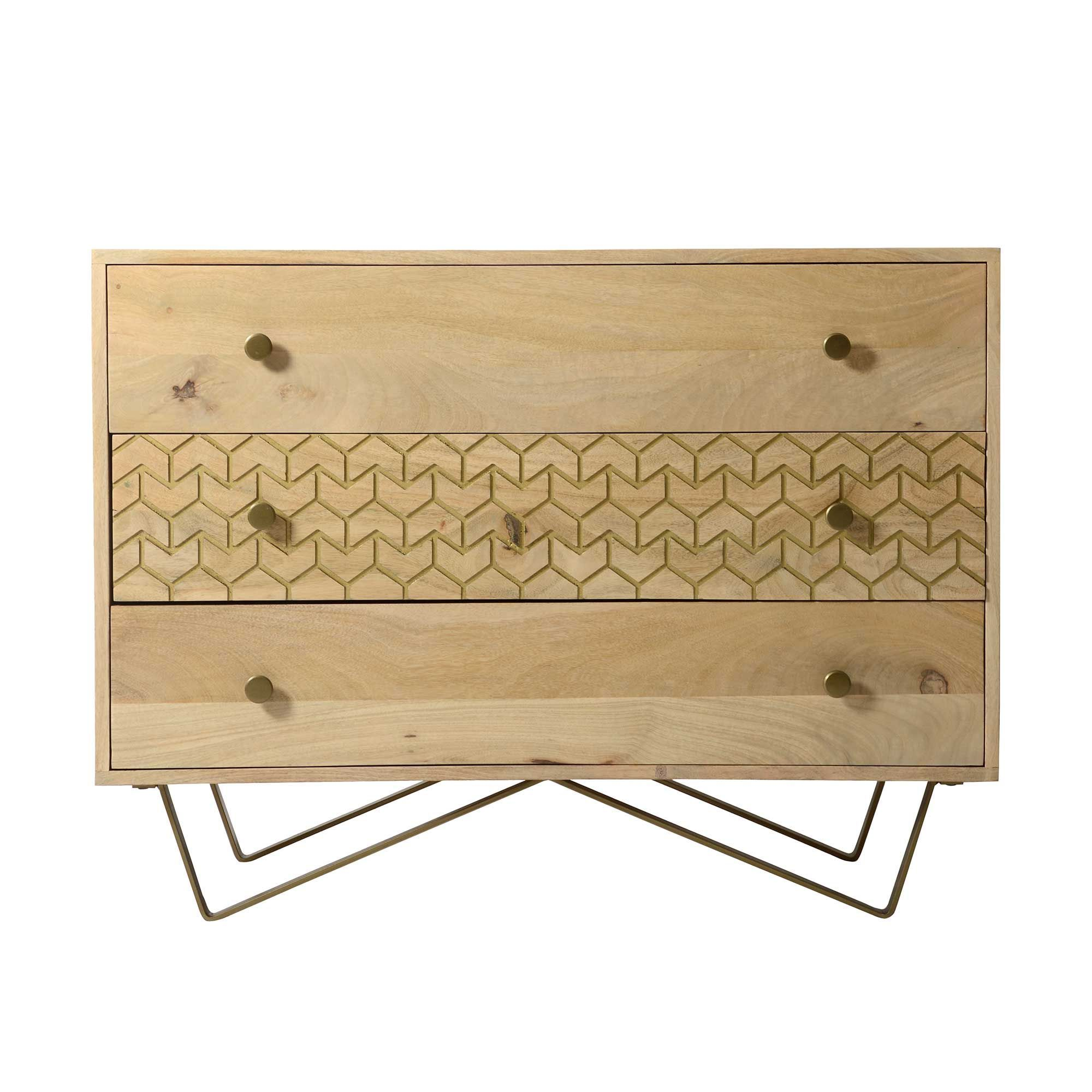 Bedroom Storage Chest Drupe 3 Drawer Chest Mango Wood And Brass Chests Storage Bedroom Bedroom Storage 3 Drawer Chest Wood