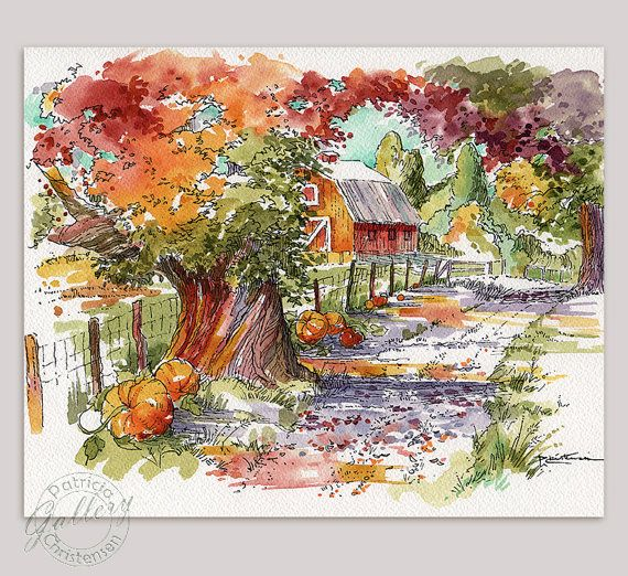 Fall Autumn Pumpkins Farm Barn Country Lane by PChristensenGallery