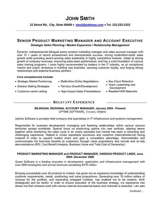 A professional resume template for a Senior Product Manager Want it - Sample Product Marketing Manager Resume