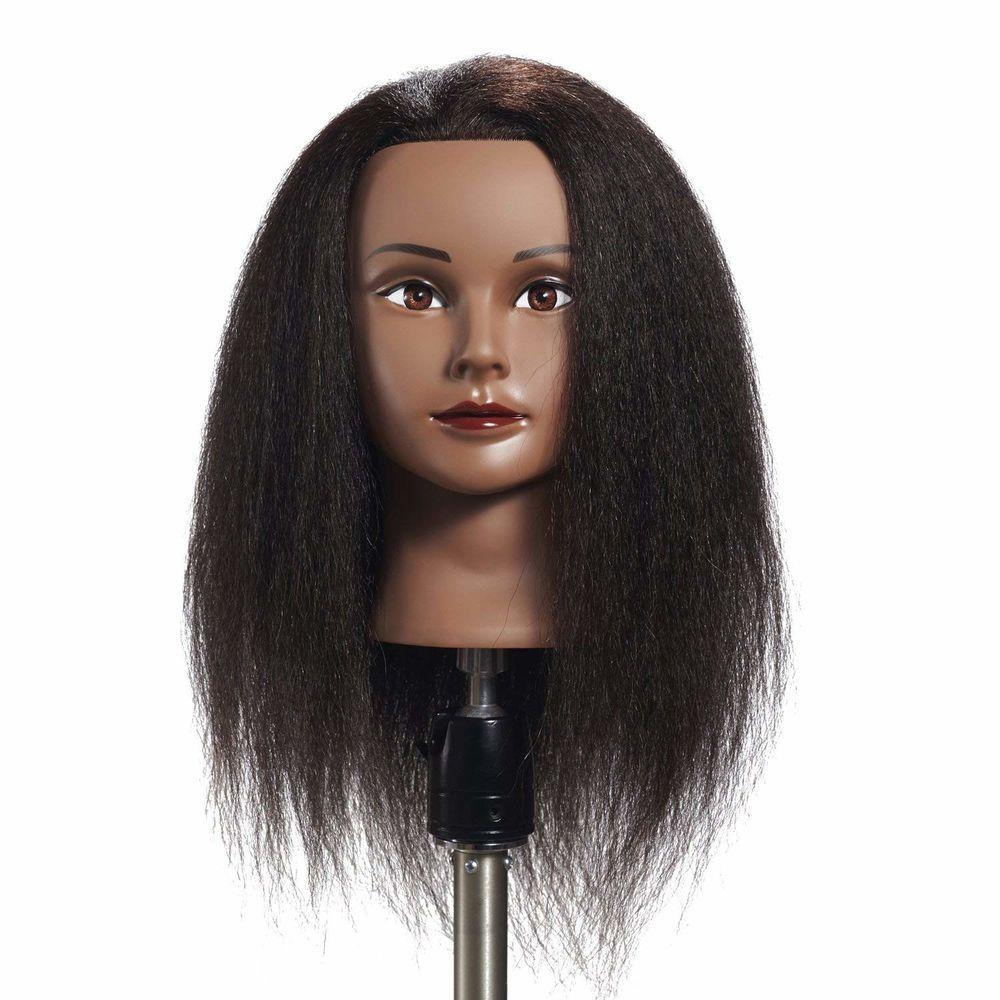 100 Real Hair Hairdresser Training Doll Head Manikin Afro Mannequin Head Black Hairginkgo Hair Mannequin Hairdressing Training Mannequin Heads