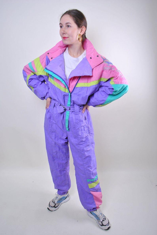 Vintage one piece flowers ski suit purple retro snow suit Size M