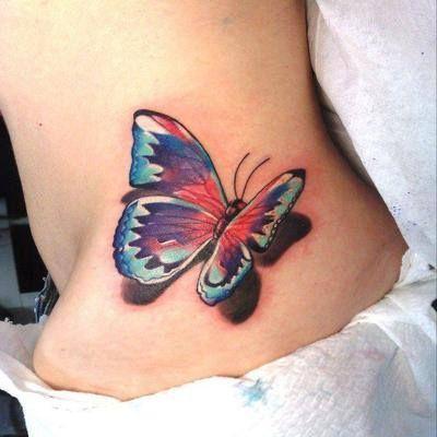 Tatouage Papillon Couleur 3d Bas Du Dos Femme Tattoo Moi Tm6g406