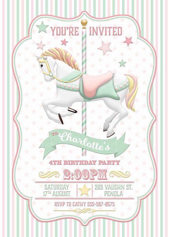 Carrusel invitaci n menta rosa cumplea os por WestminsterPaperCo – Carousel Party Invitations