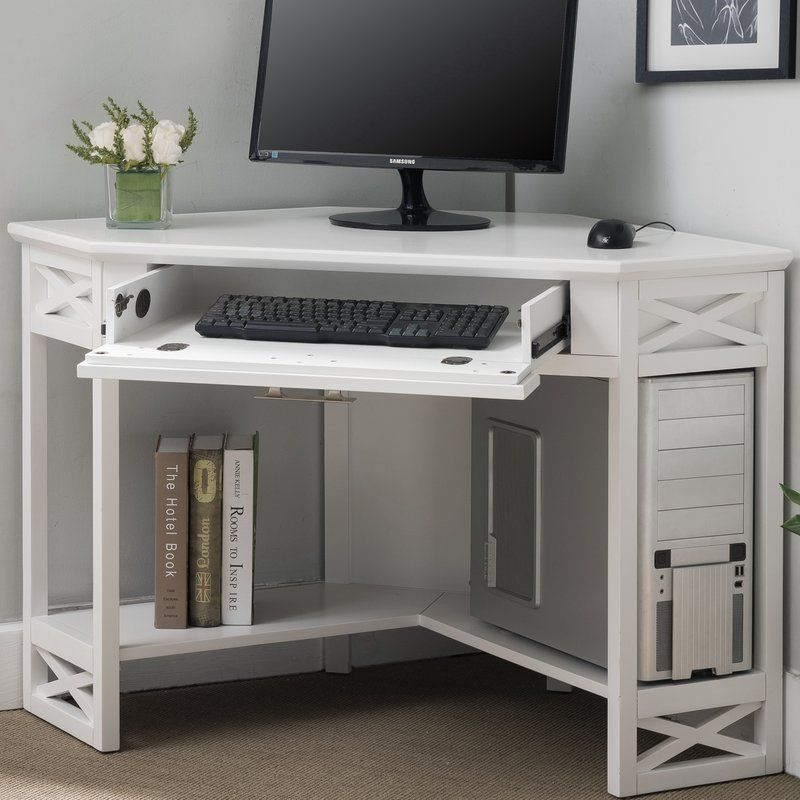 Moorton Solid Wood Corner Computer Desk Reviews Joss Main Desk In Living Room Diy Corner Desk Corner Computer Desk