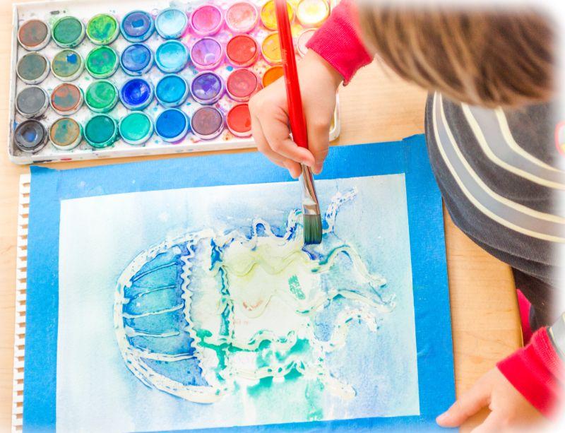 3d Jellyfish Watercolor Hot Glue Texture Raised Salt Painting