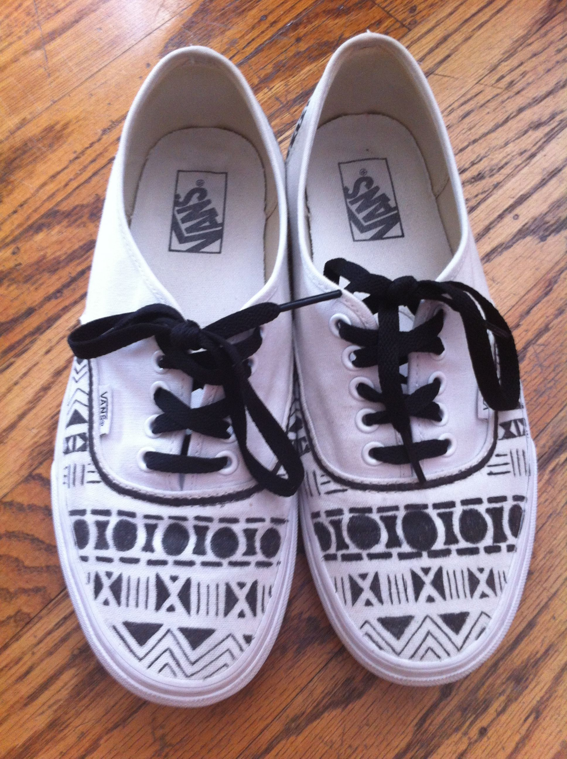 ef5038ea9b Black on white aztec tribal pattern vans Patterned Vans