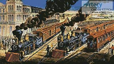 Trains cross stitch pattern.