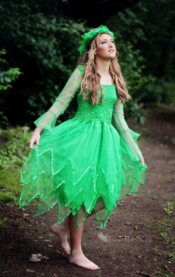 Long green fairy dress