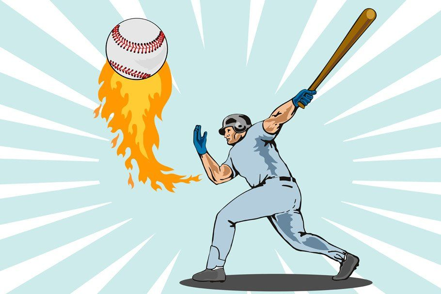 Baseball Player Batting Flaming Ball Baseball Players Homerun Baseball Batter