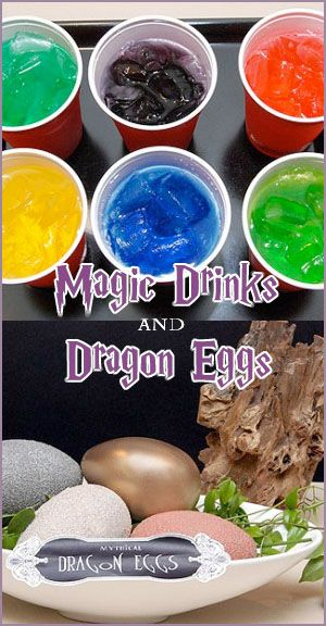 Dragon egg hunt and magic drinks food color let dry add ice to hide ...