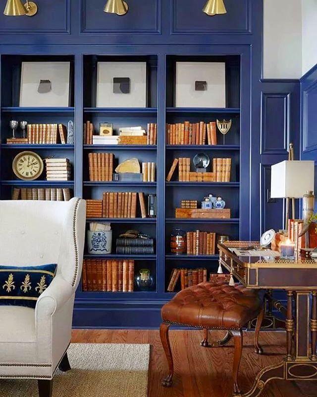The Blue Library Bookshelves Built In Blue Bookshelves House Interior