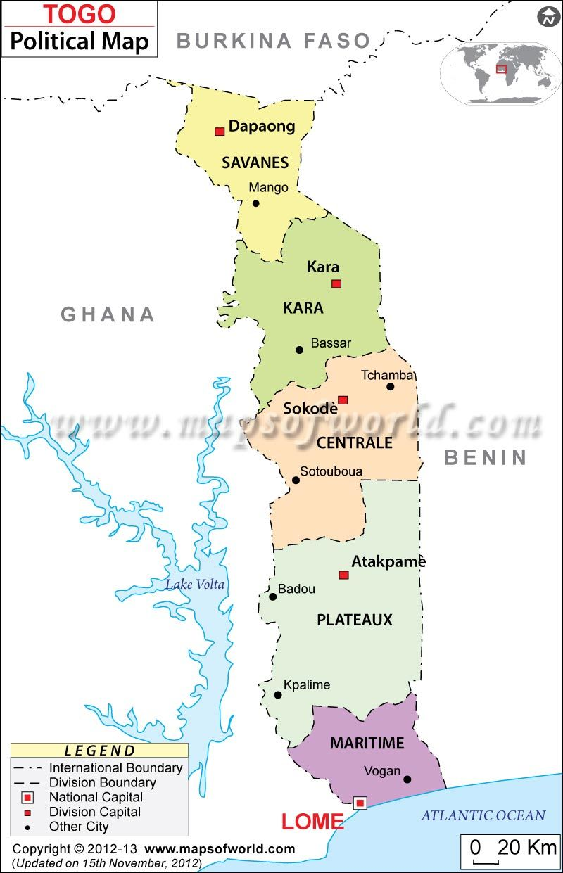 Maps | Togo | Cultural Anthropology | Research | Political Map of ...
