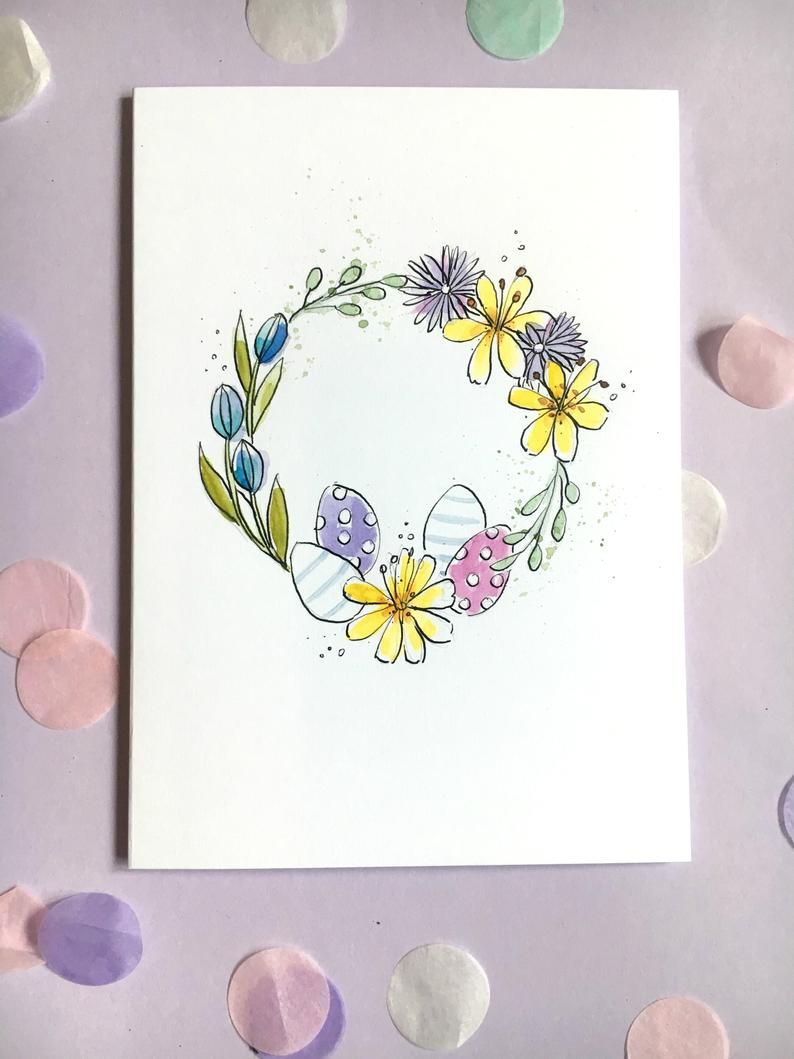 Photo of Easter card hand-painted – wreath card – Easter egg card – A5 flower watercolor, flower card