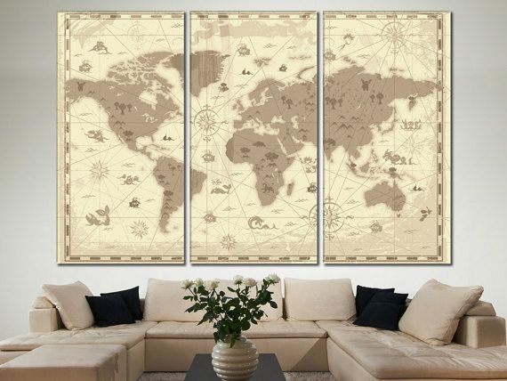 World Map Wall Decor, World Map Wall Art, World Map Large Ar ...