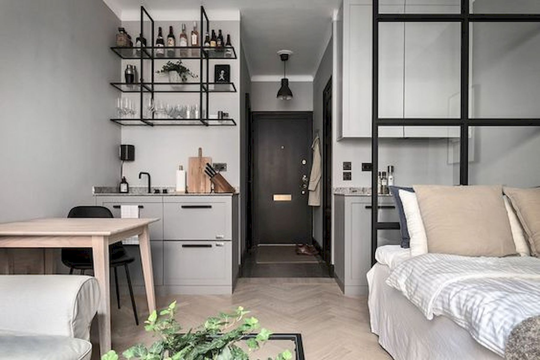 Adorable 50 Stunning Minimalist Studio Apartment Small Spaces Decor Idea Small Apartment Interior Small Studio Apartment Decorating Minimalist Apartment Decor