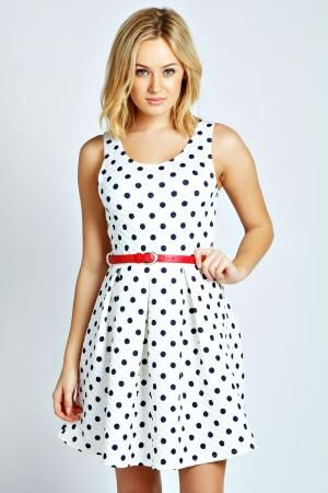 boohoo Kirsty Polka Quilted Skater Dress - multi £20.00 by boohoo.com