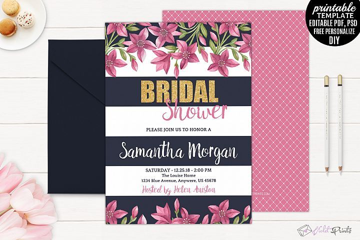Pin by paper craft workshop on diy bride make crafts for your coral flowers bridal shower invite templates navy gold and coral flowers bridal shower invitation template printable flower garden blush watercol by stopboris Images