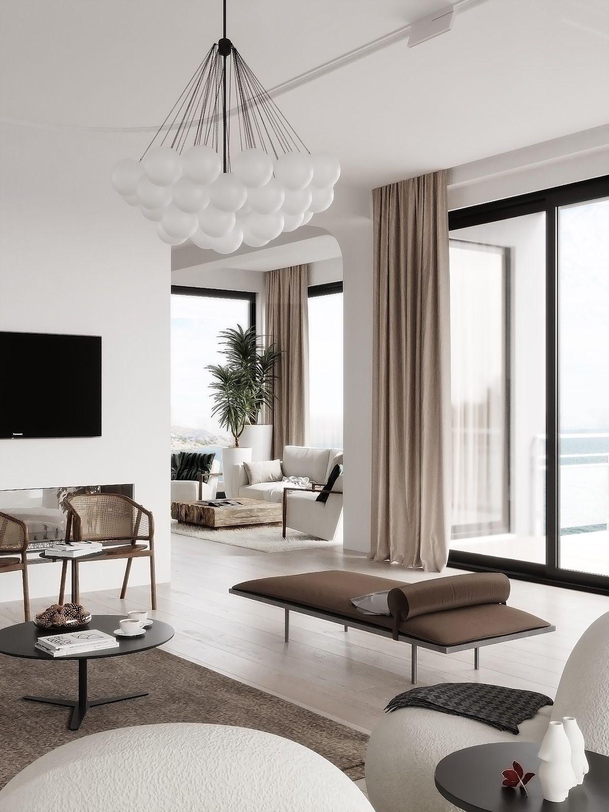 Modern Mediterranean Style Interior Design Hausinterieurs In 2020 Innenarchitektur Wohnzimmer Innenarchitektur Schlafzimmer Design