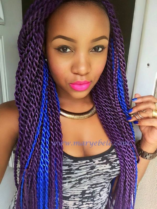 braids + twists | Hair styles, Twist braids, Purple hair